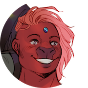 A friendly, grinning person with rust red skin and tousled pink hair. They have a very wide flat nose (almost cow-like) and a shiny blue stone in the center of their forehead.