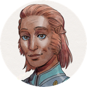 A person with deep tan skin, peach-brown hair, blue eyes with pale blue around the iris, and a gentle expression. They are wearing a cyan and blue jacket (the colors of a healer) with an embroidered symbol on the chest just visible at the bottom edge of the picture.